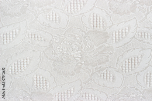 Fotografía  Close up of a white fabrics with floral pattern