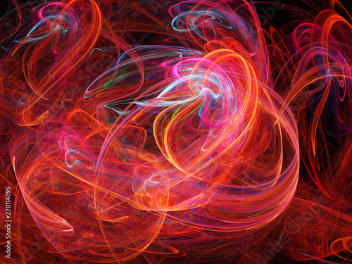 Door stickers Fractal waves Abstract fractal background