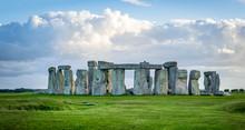 Stonehenge Landscape And Blue Sky, England