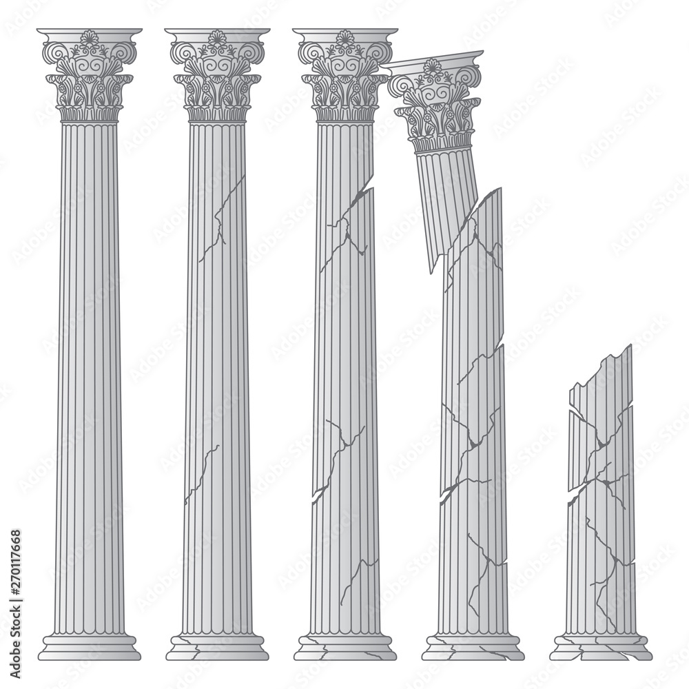 Fototapety, obrazy: ruined historical Greek antique columns with capitals of the Korinvinsky warrant vector line illustration