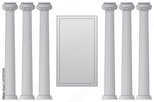 Fototapeta Template with historical antique greek columns with place for text Vector line illustration obraz na płótnie