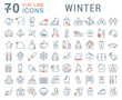 Set Vector Line Icons of Winter