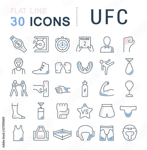 Set Vector Line Icons of UFC Canvas Print