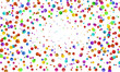 Festive colorful round confetti background. Vector illustration for decoration of holidays, postcards, posters, websites, carnivals, children's parties, birthday and elebration.
