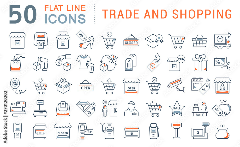 Fototapety, obrazy: Set Vector Line Icons of Trade and Shopping