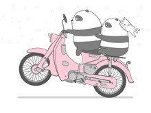 Panda Is Riding Motorcycle In ...