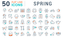 Set Vector Line Icons Of Spring