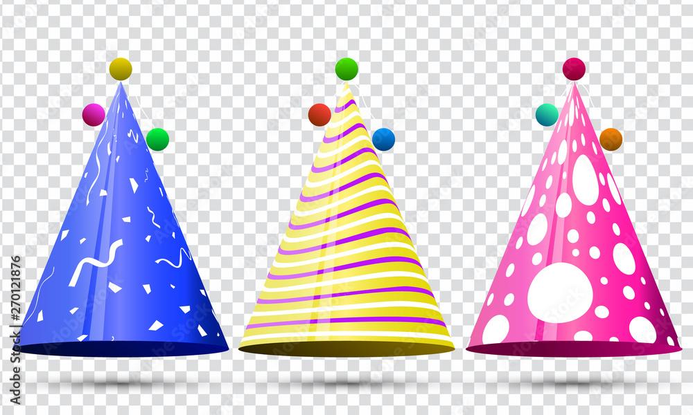 Fototapeta Party hat set on transparent background. Birthday. Vector fun decoration. Colorful surprise costume.