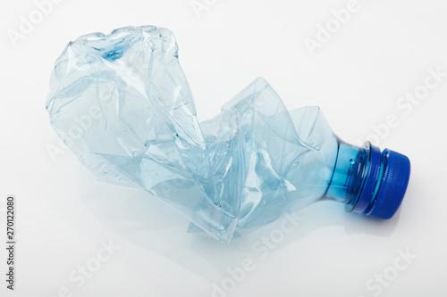 Valokuva  Crashed blue plastic bottle