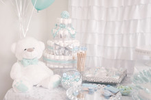 Decoration. Cute Diaper Cake For A Baby Shower Party