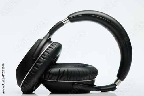 Obraz na plátně  Foldable black headphones