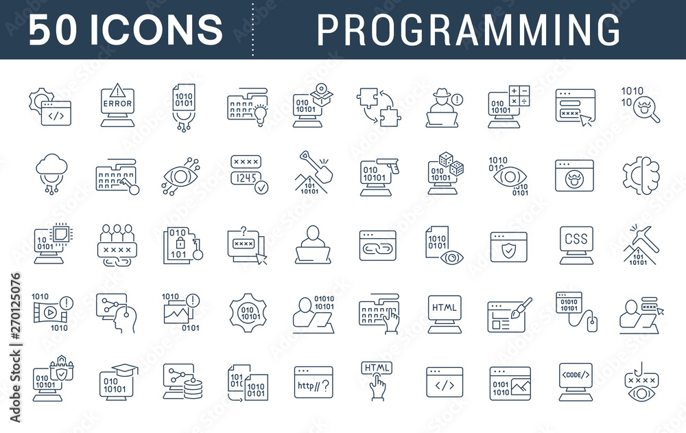 Fototapety, obrazy: Set Vector Line Icons of Programming