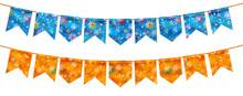 Bandeira Festa Junina Varejo. Selo Promocional 3d Brasil Para Festa De Junho De Cartão Ou Cartaz Para Férias. Selo São João E Arraiá. Tipografia Festiva