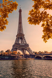 Fototapeta Fototapety z wieżą Eiffla - Eiffel tower during the autumn in Paris at sunset