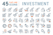 Set Vector Line Icons Of Inves...
