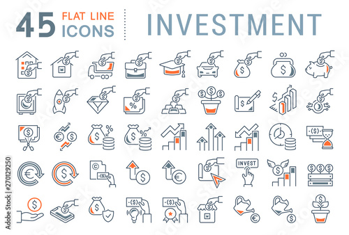 Fototapeta Set Vector Line Icons of Investment obraz
