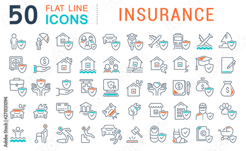 Set Vector Line Icons of Insurance