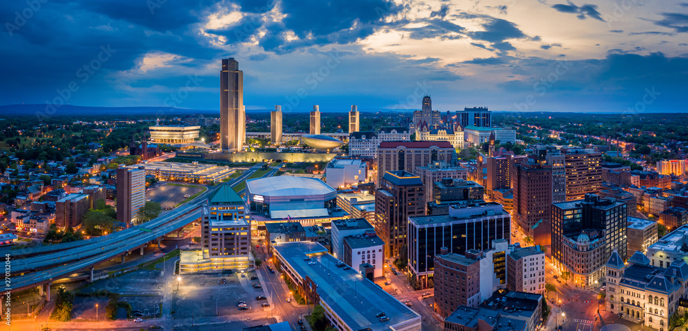 Fototapety, obrazy: Aerial panorama of Albany, New York downtown at dusk. Albany is the capital city of the U.S. state of New York and the county seat of Albany County