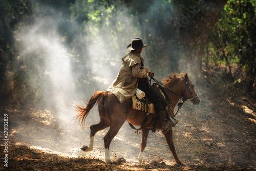 Cowboy on horseback Canvas Print