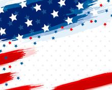 USA Or American Flag Paintbrus...