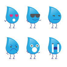 Water Mascot Icon With Face Expression, Emoticon