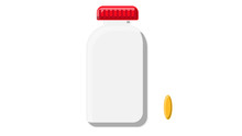 Beautiful Medical Plastic Can With A Lid White For Tablets Capsules With Drugs Vitamins Antibiotics Fish Oil For The Treatment Of Diseases Pharmaceutical On A White Background. Vector Illustration