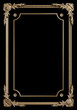 canvas print picture - Classic moulding frame with ornament decor gold color for classic interior isolated on black background. Digital illustration. 3d rendering