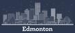 Outline Edmonton Canada City Skyline with White Buildings.