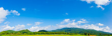 Panorama Image Of  Blue Sky And Mountain.