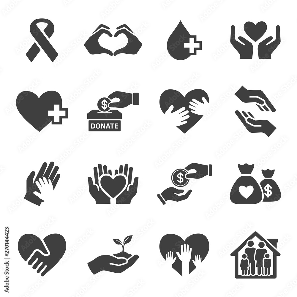 Fototapeta charity and donate vector icon set