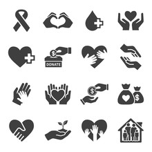 Charity And Donate Vector Icon Set