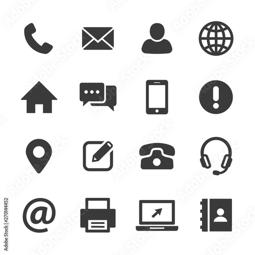 Fotografía contact and web icons set