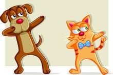 Funny Cat And Dog Dabbing Cartoon Vector