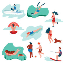 People Relaxing At Summer Vacation Set, Young Man And Woman Surfing, Swimming, Diving, Playing Soccer, Doing Sports, Summer Outdoors Activities Vector Illustration