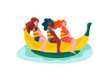 Happy Girls Riding On Banana B...