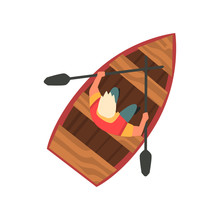 Man Floating On Wooden Boat, Top View Vector Illustration On White Background.