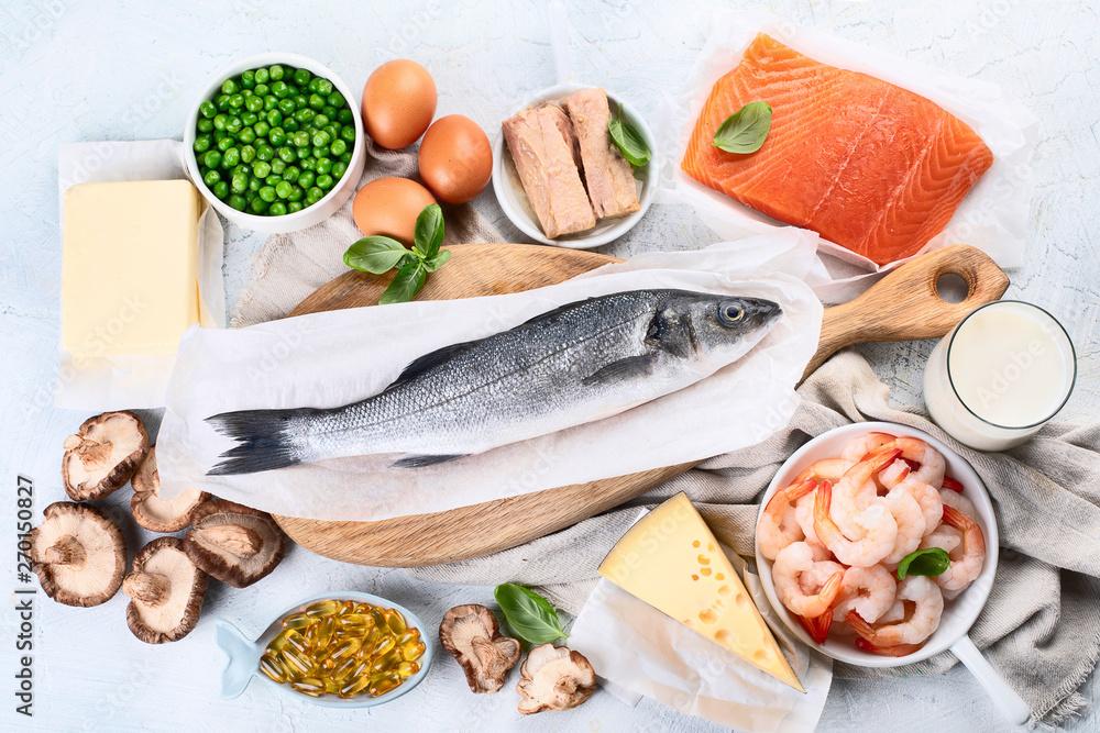 Fototapeta Foods rich in natural vitamin D. Top view, flat lay