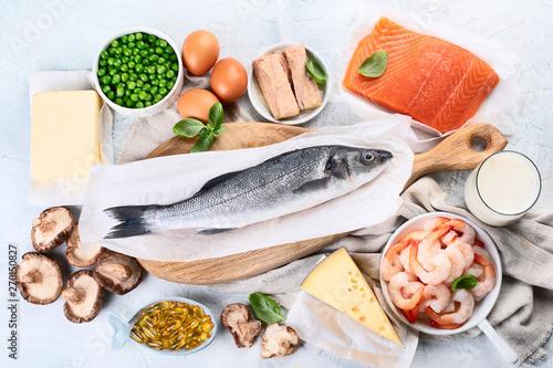 Fototapeta Foods rich in natural vitamin D. Top view, flat lay obraz