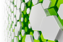 White And Green Hexagon Backgr...