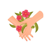 Pair Of Hands With Red Flowers...
