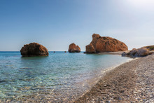 Cyprus Beach And Rock Of Aphrodite, (Petra Tou Romiou) And Sea Bay, Paphos District, Cyprus Island