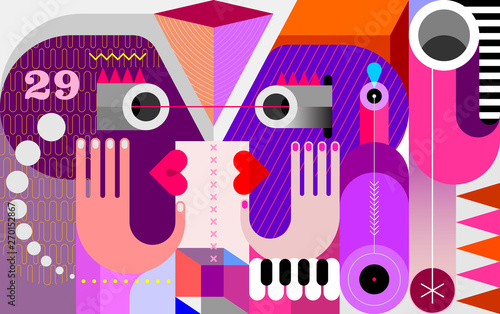 In de dag Abstractie Art Twins look at each other vector illustration
