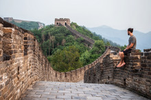 Traveler At The Great Wall Of ...