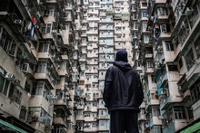 Urban Explorer In Hong Kong, China, Travel And Population Density Concepts
