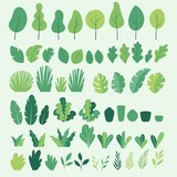 Fototapeta Dmuchawce - Vector set of flat illustrations of plants, trees, leaves, branches, bushes and pots
