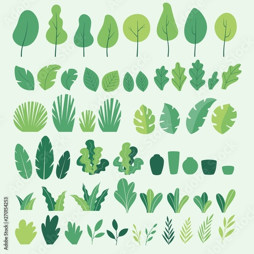 Vector set of flat illustrations of plants, trees, leaves, branches, bushes and pots