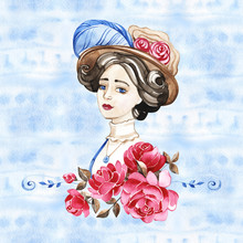 Watercolor Hand Paint Portrait...