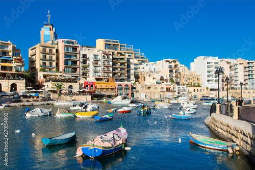 Fototapeta Spinola Bay with restaurants, St. Julian`s, Malta, Mediterranean, Europe obraz