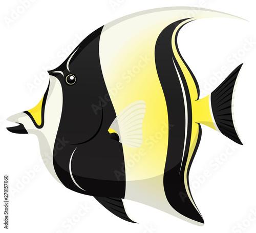 Canvastavla Vector illustration of a Moorish Idol tropical fish.