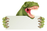 Fototapeta Dino - A scary dinosaur T Rex cartoon character holding a sign with space for your copy